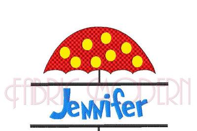 SPLIT MONOGRAM FRAME Machine Embroidery Design, polka dot umbrella #584