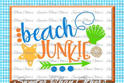 Beach Svg Beach Junkie svg, Summer Beach pattern, Dxf Silhouette, Cameo cut file, Cricut cut file INSTANT DOWNLOAD, Vinyl Design, Htv Scal