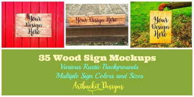 Rustic Wood Sign Mockups-Bundle of 35