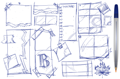 Notes, paper, hand drawing mockups