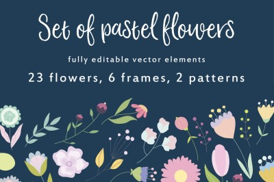 April meadow. Set of hand drawn vector pastel flowers.