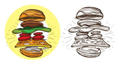 Fast food. Set of illustrations.