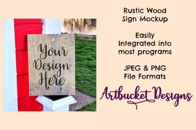 Rustic Wood Sign Mockup (#11)