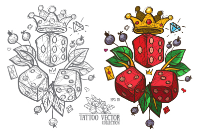 Dice and crown