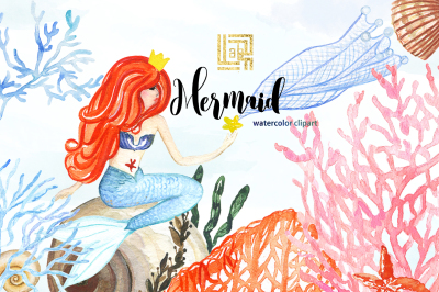 Mermaid sea. watercolor clipart