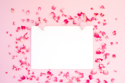 Mock-up with rose's petals