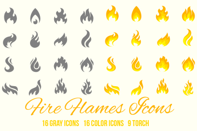 Fire flame icons set