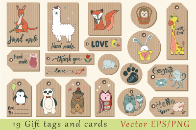 Gift tags, cards, labels and stickers with cute animals. Hand drawn vector clipart