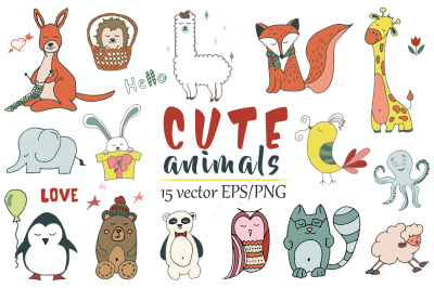Cute animals Hand drawn doodle Vector Set