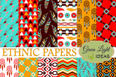 Ethnic Tribal Digital Papers, Native American Backgrounds