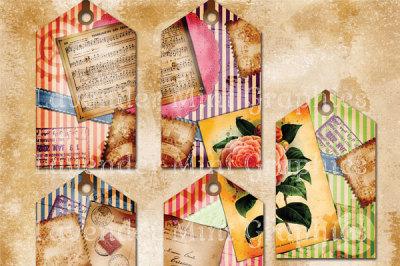 Vintage Stripe Tags Scrapbook Journal Tags
