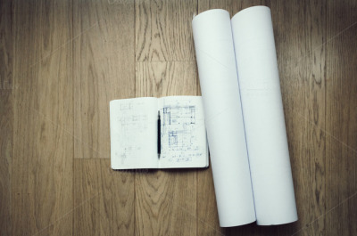 Architect notepad and plans