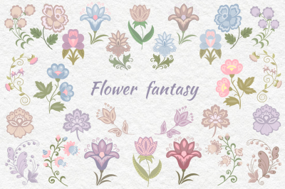 Flower fantasy  vector set