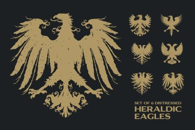 6 Distressed Heraldic Eagles