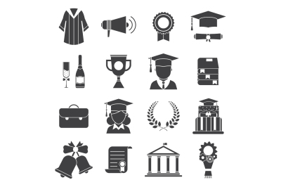 Graduation Celebration Outline Icons