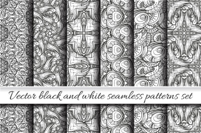 Vector black and white seamless patterns set