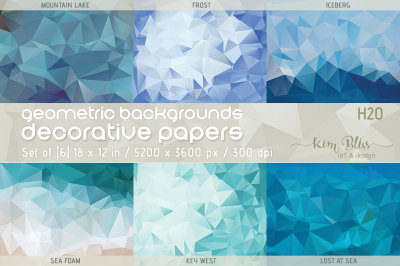 Polygon Geometric Backgrounds/Decorative Papers-H2O