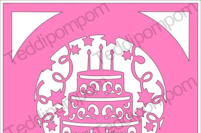Happy Birthday Cake Frame SVG