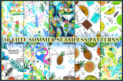 Cute hand drawn summer patterns.