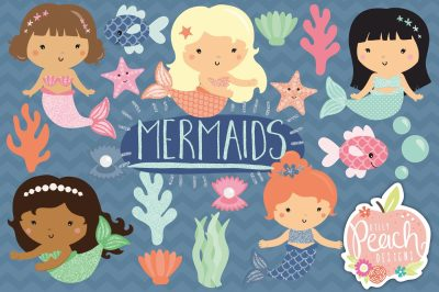 Pretty Glitter Mermaid Clipart
