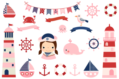 Pink nautical clipart set, Girl nautical clip art collection, Lighthouse, whale, bunting, helm, sailboat