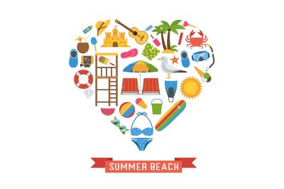 Love Summer Beach Concept Set in Heart Shape