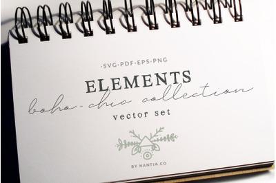 50 Boho-Chic Elements Vectors