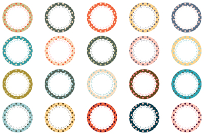 Cute round labels clipart, Circle scalloped border, Polka dot frame clip art