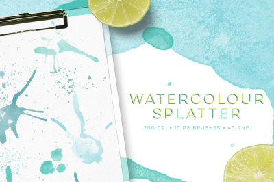 Watercolour splatter Photoshop Brushes and bonus PNG