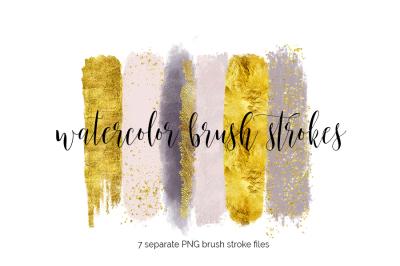 Brush Strokes Clipart - blush gold