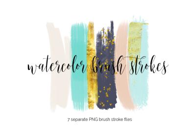 Brush Strokes Clipart - peach teal