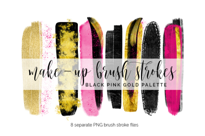 Brush Strokes Clipart - pink black