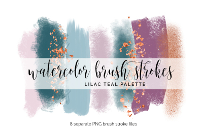 Brush Strokes Clipart - lilac teal