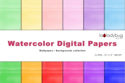 Watercolor digital papers. Soft and bright colors. 12 colors total.