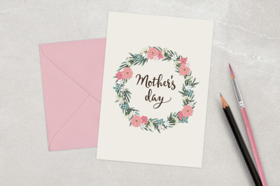Happy Mother's day card with floral wreath