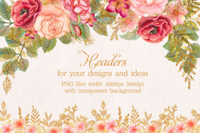 Watercolor glitter floral headers. Flower clipart