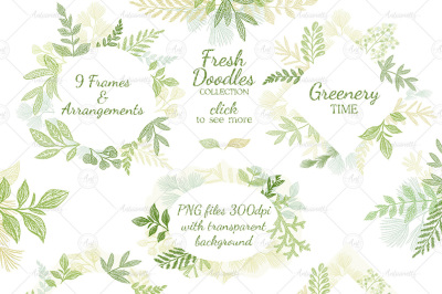 Leaves Branches & Herbs frames. Fresh Doodle collection