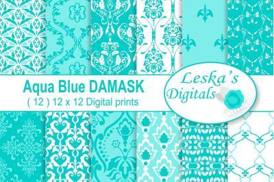 Aqua Blue Damask Digital Paper Patterns