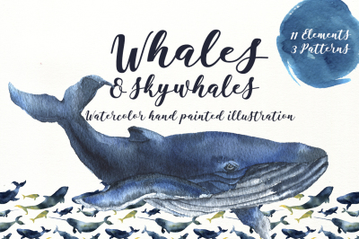 Whales and skywhales. Watercolor