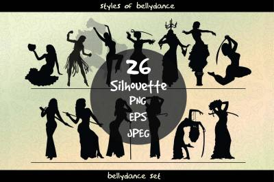 Set of bellydance silhouettes