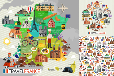 France Travel Icons.