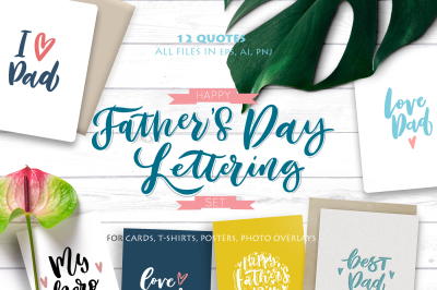 Happy Father's Day Lettering Set