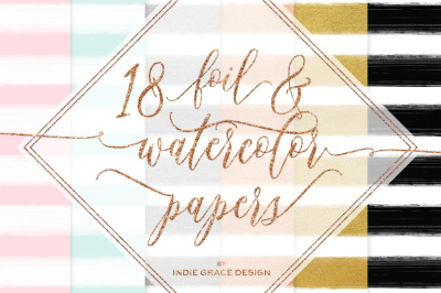 18 Watercolor + Rose - Gold foil Stripe Digital Papers