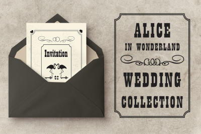 Wedding set Alice in Wonderland