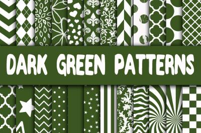 Dark Green Patterns Digital Paper