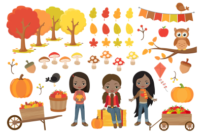 Autumn Girls Clipart
