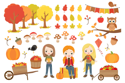 Fall Girls Clipart