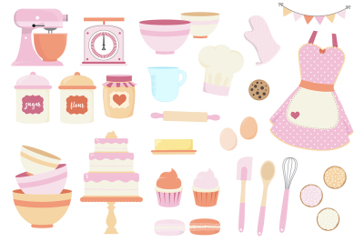 Coral and Purple Baking Clipart