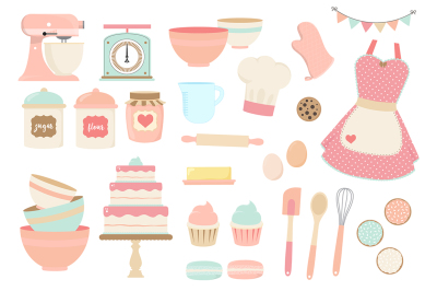 Pink and Blue Baking Clipart