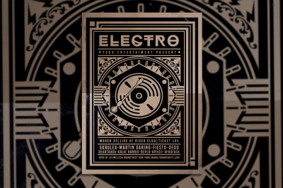 Vintage Electro Music Flyer
